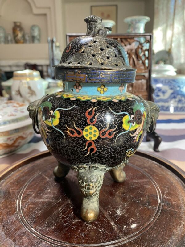antique Chinese cloisonne Insence Burner