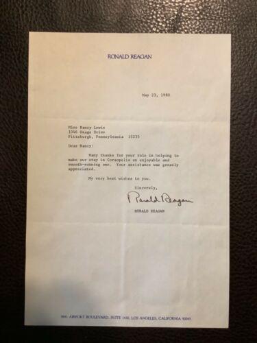 PRESIDENT RONALD REAGAN SIGNED LETTER 1980