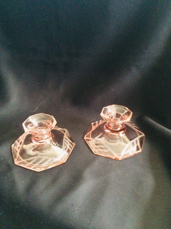US Glass Modernistic Candlestick Pair Art Deco Elegance Circa 1929 Gorgeous Rare