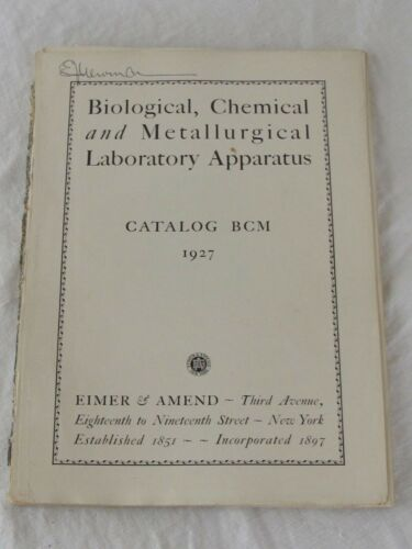 Eimer & Amend Biological Chemical Laboratory Metallurgic Apparatus Catalog 1927