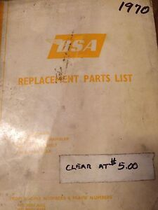 1970 BSA A65L A65F A65T A50 Replacement Parts List