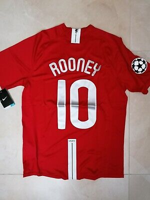 MAGLIA MANCHESTER UNITED ROONEY 10 FINALE CHAMPIONS MOSCA 2008 RETRO PATCH