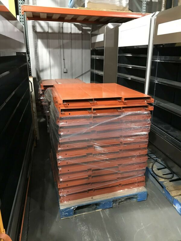 "40"" x 12"" Safety Orange Smooth Surface Pallet Rack Steel Decking Plates"