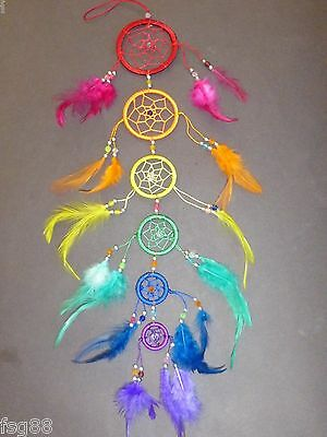 "NEW 6 Circle RAINBOW BEAD DREAM CATCHER 21"" LONG Feather Wall Decoration"