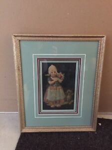 Little Dutch Girl Raised picture with wood frame