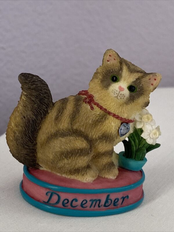 ENESCO  Calico Kittens Cat of The Month December Turquoise Priscilla Hillman