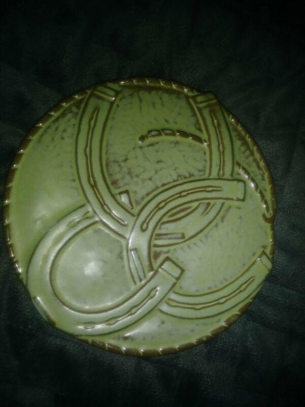 FRANKOMA Pottery Horseahoes Green TRIVET Good Luck Trivet