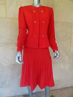 LILLI ANN Vintage 1970s Red Long Sleeves Wear to Work Day Skirt Suit Sz M 2 PC