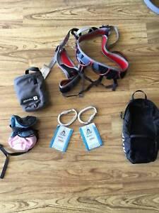 Rock Climbing Pack - CAMP Flint Harness, Carabiners, Chalk Bags