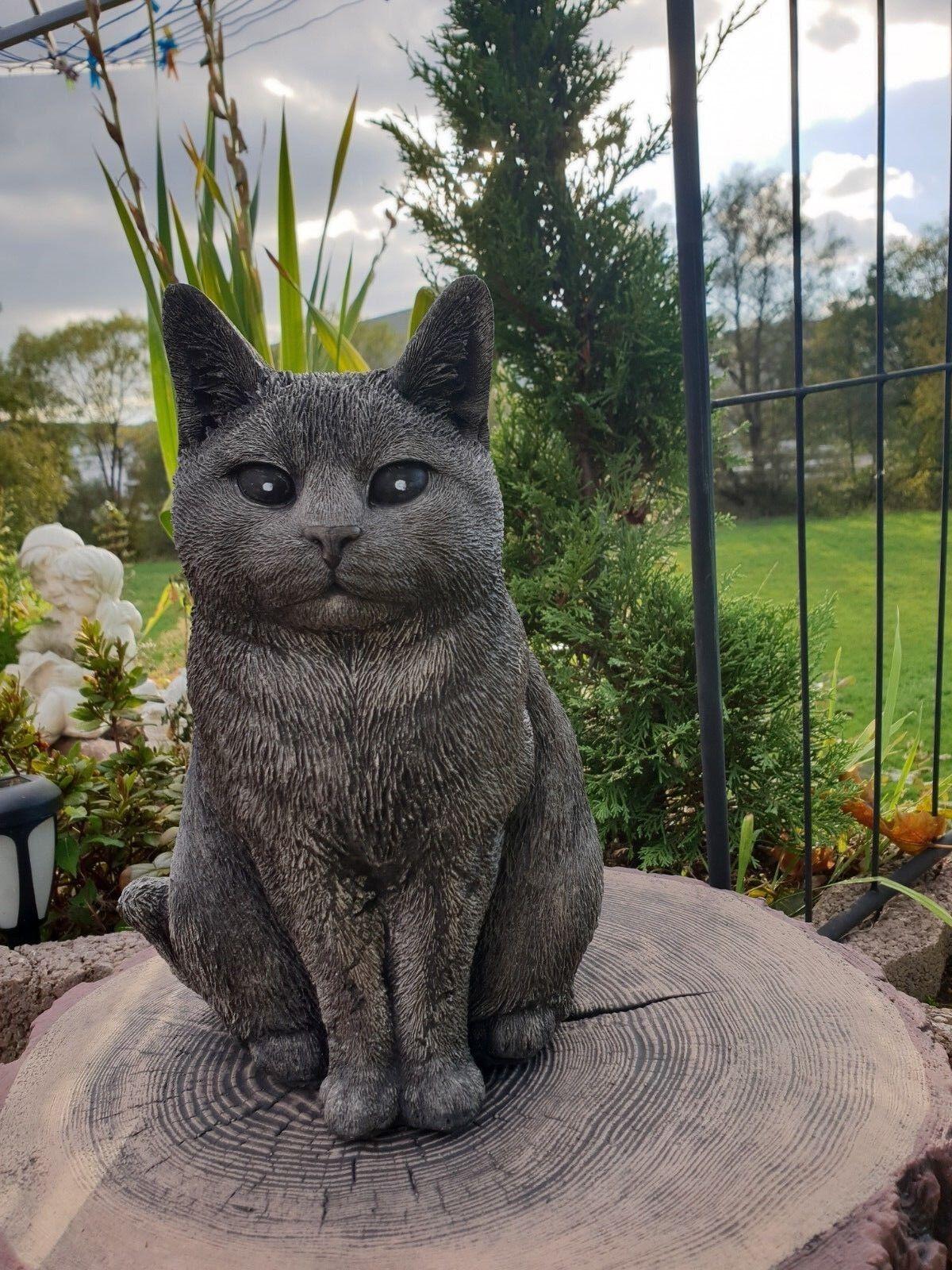Katzenfigur schwarz,Gartenfigur wetterfest ZR0011