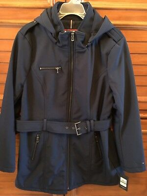 NWT Tommy Hilfiger Womens Soft Shell Rain Coat Jacket Trench W Hood Large Navy Soft Shell Trench