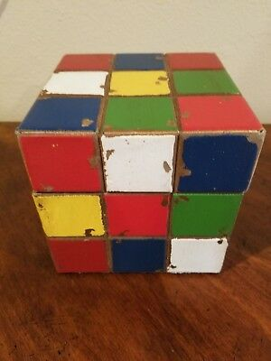"AWESOME NEW RUBIX CUBE 5"" BOX DECOR* toy game puzzle vintage style art red blue"