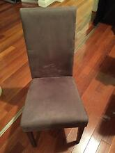 6 Brown wooden upholstered  fabric chairs Burwood Burwood Area Preview