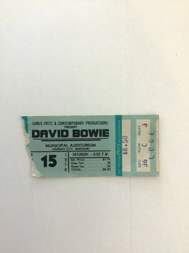 David Bowie Concert Ticket Stub April 15 1978 Municipal Auditorium KC MO