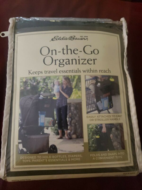 Eddie Bauer Stroller On The Go Organizer Cup Holder Black Mesh Baby Bag  NEW