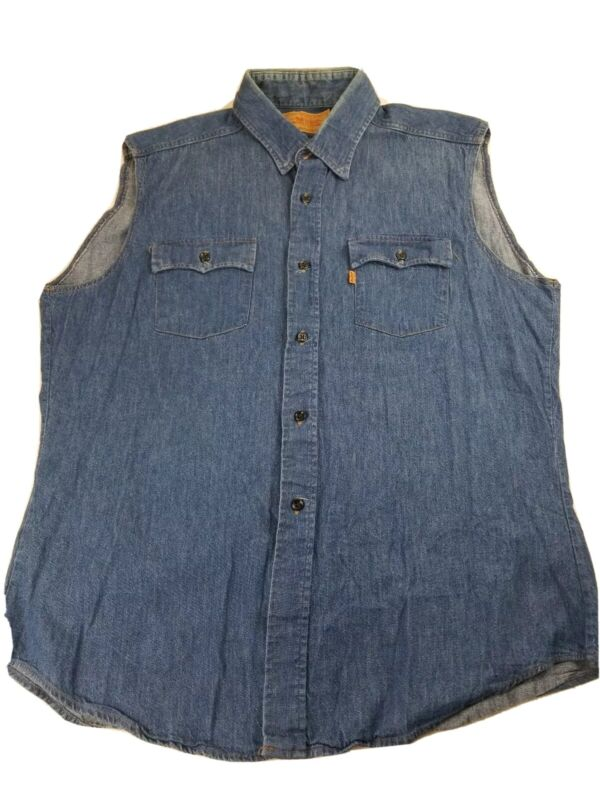 Vintage Levi Strauss Orange Tab Denim Vest Mens XL Button USA Made 1970s 62665