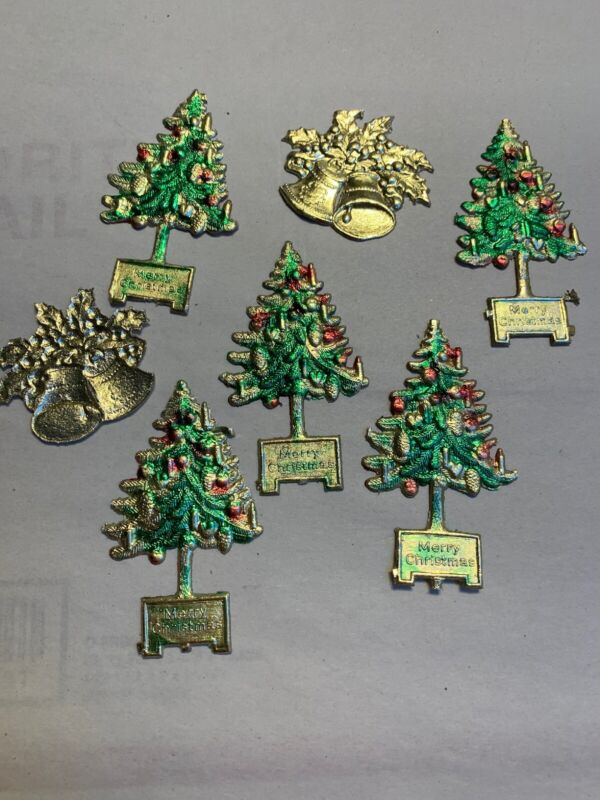 VICTORIAN MADE IN GERMANY 5 CHRISTMAS TREES / 2 BELLS EMBOSSED DIE-CUT FOIL  #D