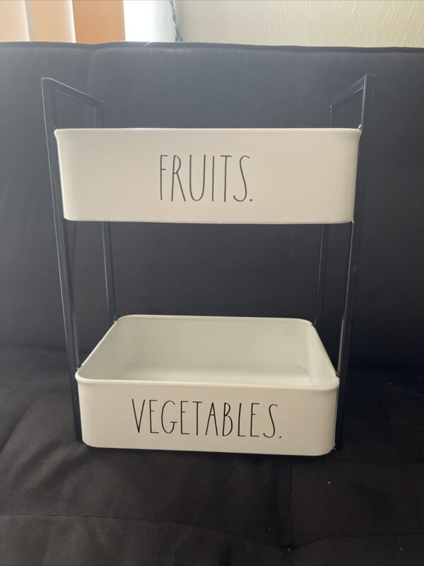 """New Rae Dunn by Magenta LL """" FRUITS and VEGETABLE"""" Tier Metal  Tray HTF!"""