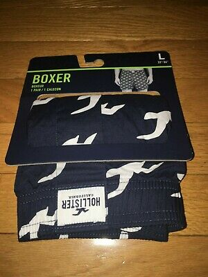 NWT Hollister by Abercrombie Men Logo 100% Cotton Woven BOXERS L Navy