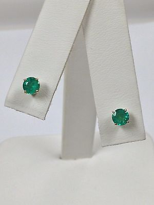 .77Ct Natural Emerald Stud Earrings Solid 14kt Yellow Gold