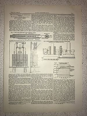 The Transmission Of Electrical Energy: 1912 Engineering Magazine Print