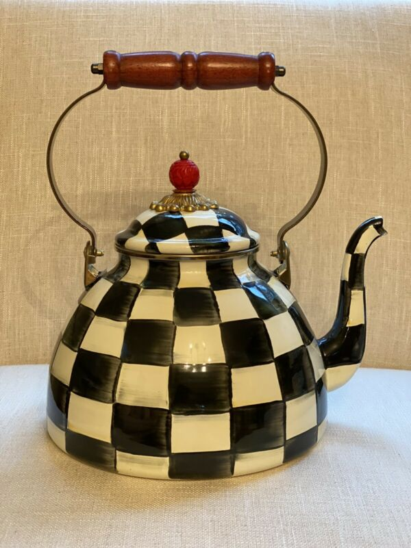 100% Authentic MacKenzie-Childs Courtly Check Enamel Tea Kettle - 3 Quart New