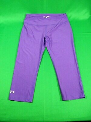 Womens Under Armour Capri Pants Small Heat Gear Purple Work Out Athletic