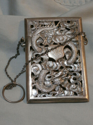 Victorian Silver Calling Card Case Pierced Chinese Dragons Hallmarked 1880
