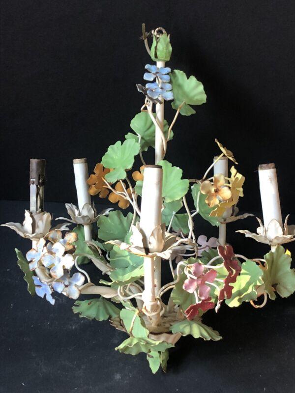 WOW! Vintage TOLE LEAVES FLOWERS Ceiling LIGHT Antique Metal Electric CHANDELIER