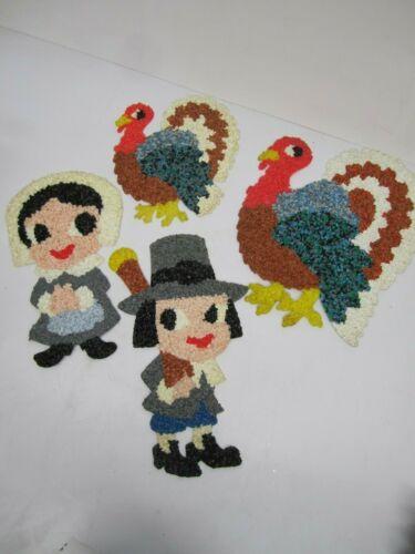 Lot of 4 Vtg Melted Popcorn Thanksgiving Pilgrim Boy & Girl 2 Turkeys Decor E