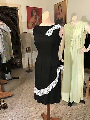 Vtg. 1950's Little Black Linen Wiggle Dress w/Polka Dot Bows