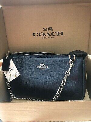 New COACH Nolita 19 Chain Pouch Wristlet Bag Metallic Navy