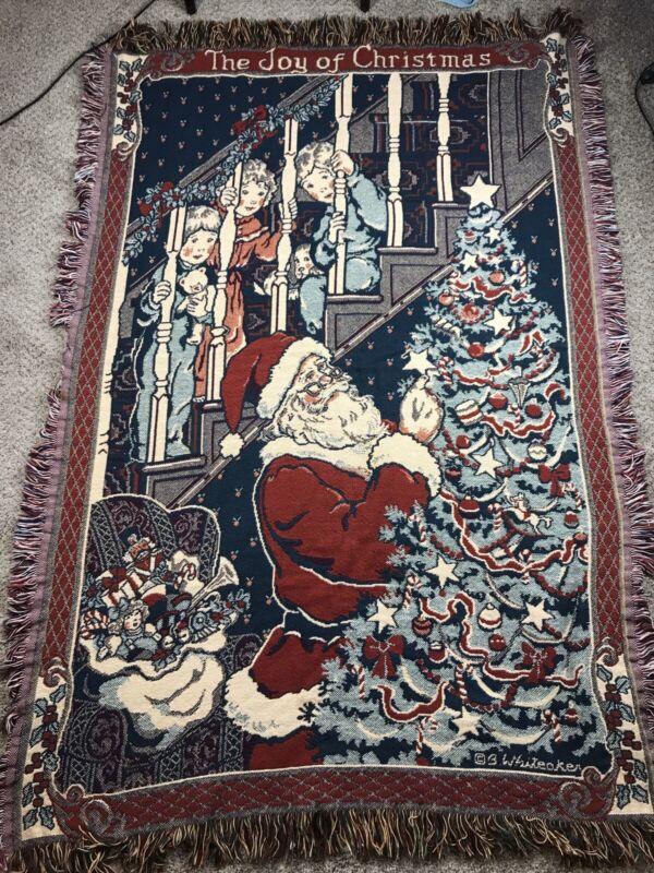 Betty Whiteaker Christmas Tapestry Throw Blanket Fringed Santa Children
