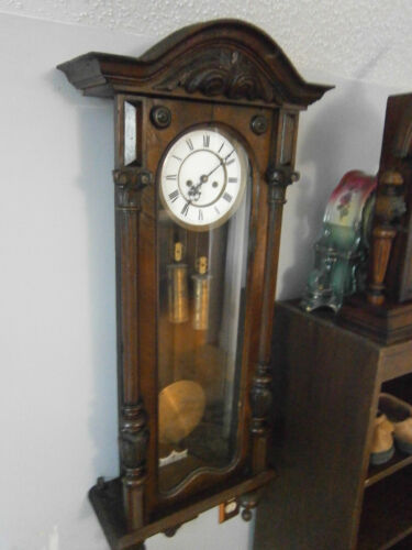 "Antique Gustav Becker Weight Driven Antique 44"" Tall Clock - Runs Great"