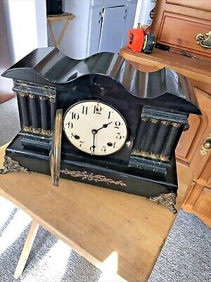 Antique Waterbury Adamantine Black Mantel Clock 8-Day, Time/Strike, Key-wind