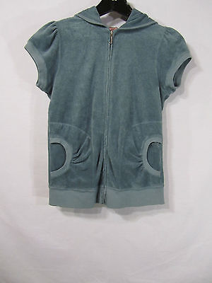 - JUICY COUTURE Blue Cotton Blend Zip Front Cap Sleeve Hooded Jacket -Size M