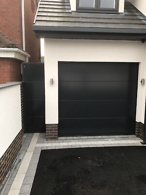Anthracite grey ral 7016 Drive Gate double skin swing ribbed plain Side solid