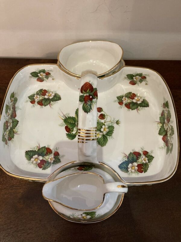 Hammersley & Co Bone China Strawberry Ripe Basket, Sugar, Creamer Set