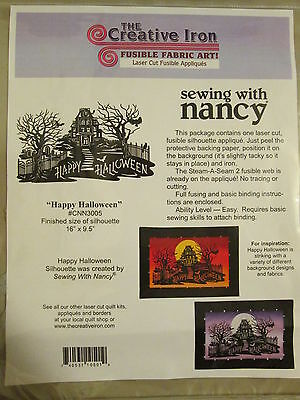 Happy Halloween Silhouette Laser Cut Fusible Applique Art Quilt Craft Projects (Halloween Silhouette Craft)