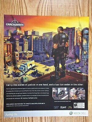 Crackdown Video Game Promo Xbox 360 2007 Vintage Print Ad/Poster Dystopian Art