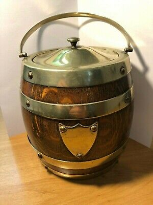 Antique Oak Biscuit Barrel with Silver Plated Mounts