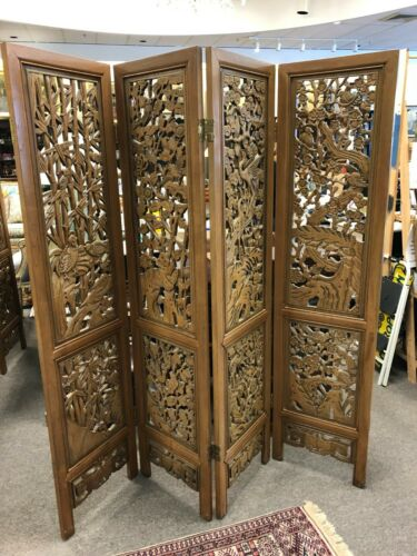 Asian Style Carved Wood Room Divider Screen