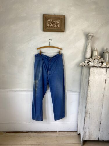 Vintage French work chore pants blue farmers 1920s-30s trousers 44 inch waist