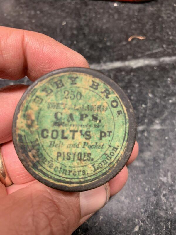 Rare 1850's -1860 Colt Patent Eley Pistol Cap Tin