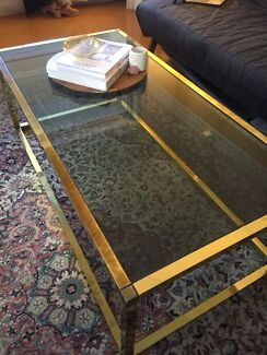 Coffee Table and 2 x Matching side tables - glass with Brass Trim