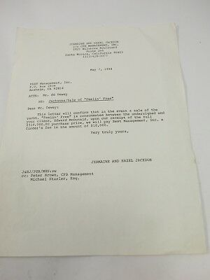Jermaine & Hazel Jackson Letter regarding a commission for sale of Yacht 1984
