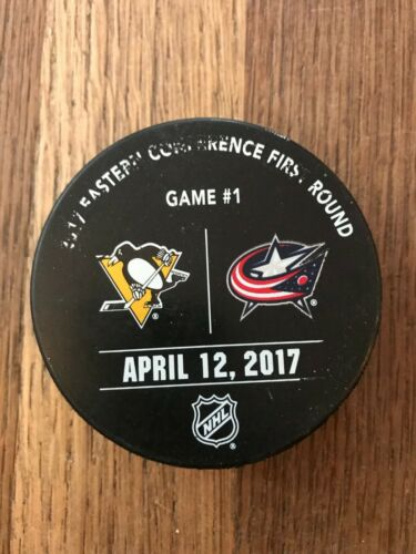 Pittsburgh Penguins Blue Jackets Game Used Playoff Warm Up Puck 2017 1 A