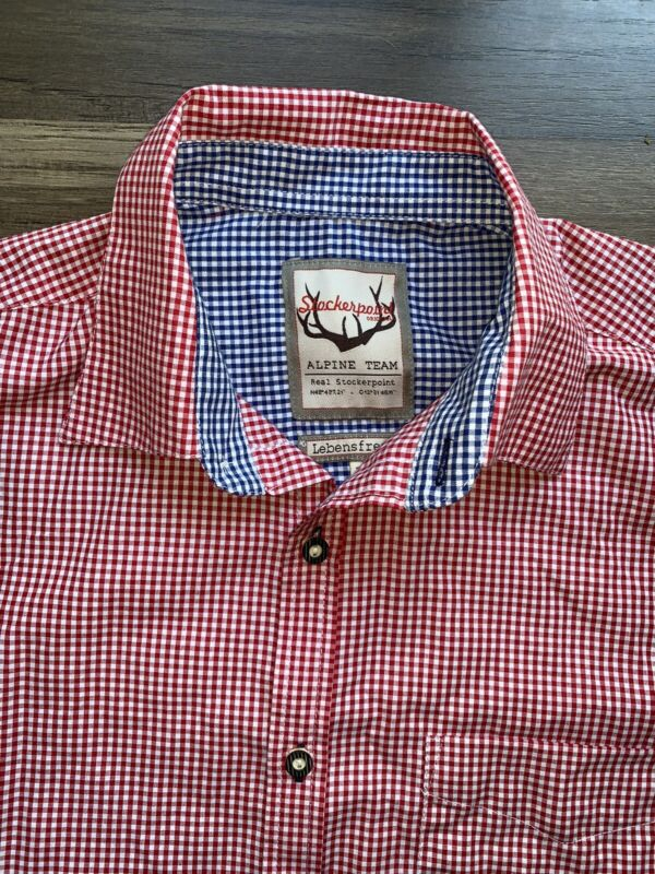 Stockerpoint Original Traditional Oktoberfest Shirt Long Sleeve Red Mens Medium
