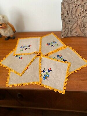 Set Of 6 Embroidered Crocheted Linen Place Mats