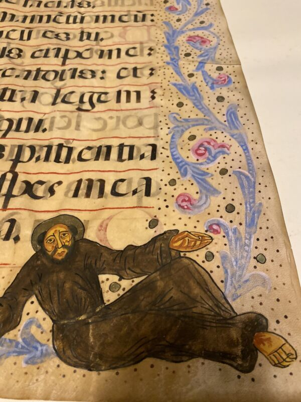 ILLUMINATED MANUSCRIPT Bible Two Sided latin vulgate Psalms 70 Vellum W/drawing